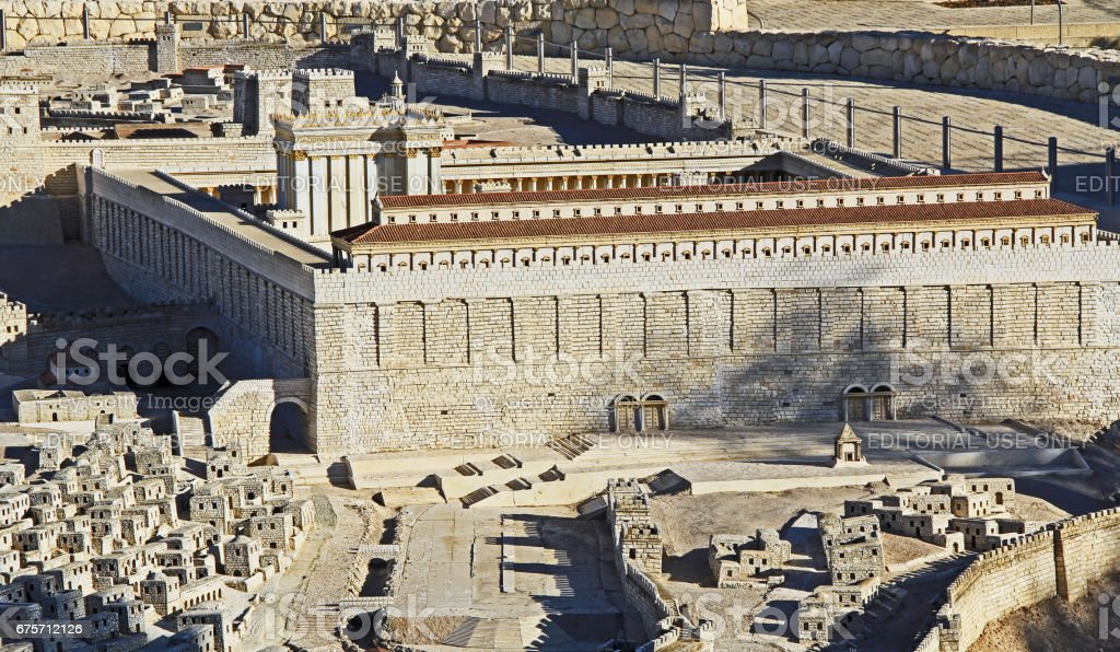 Model of Ancient Jerusalem Focusing on the Temple Mount 免版稅 stock photo