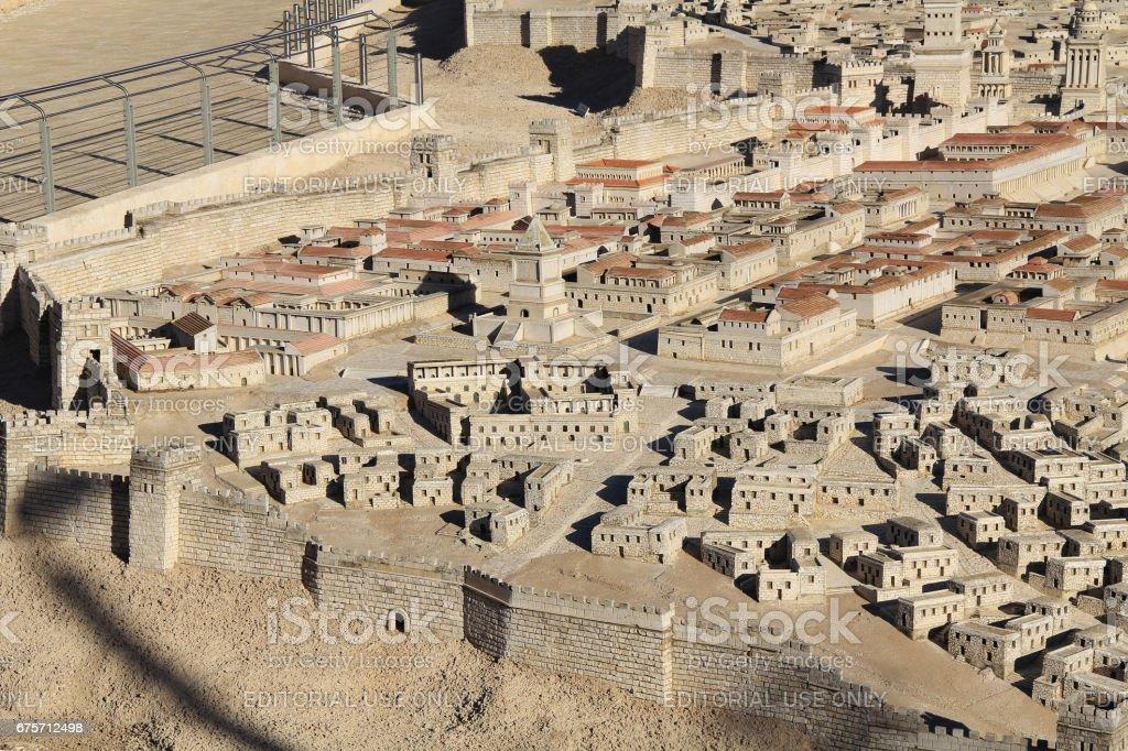 古代耶路撒冷的城市模式 免版稅 stock photo