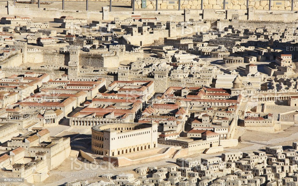 Model of Ancient Jerusalem Focusing on Two Palaces 免版稅 stock photo