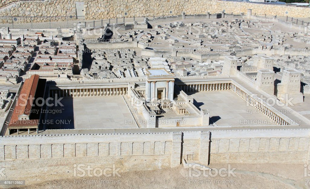 Model of Ancient Jerusalem Temple Mount stock photo