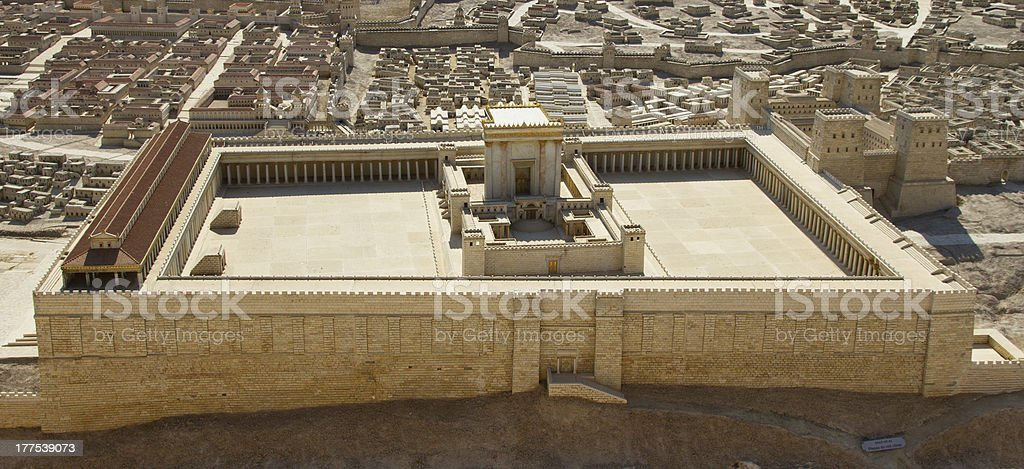 Model of ancient Jerusalem, view to the Temple stock photo