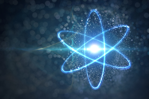 Model of atom and elementary particles. Physics concept. 3D rendered illustration.