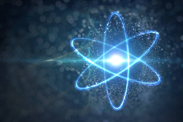 Model of atom and elementary particles. Physics concept. 3D rendered illustration. stock photo
