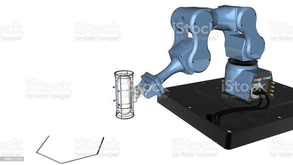 3d Model Of Blue Robot Mechanical Arm With Clamp Tool At The