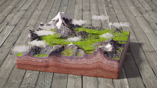 model of cross section of mountains scene - illustration studium stock-fotos und bilder