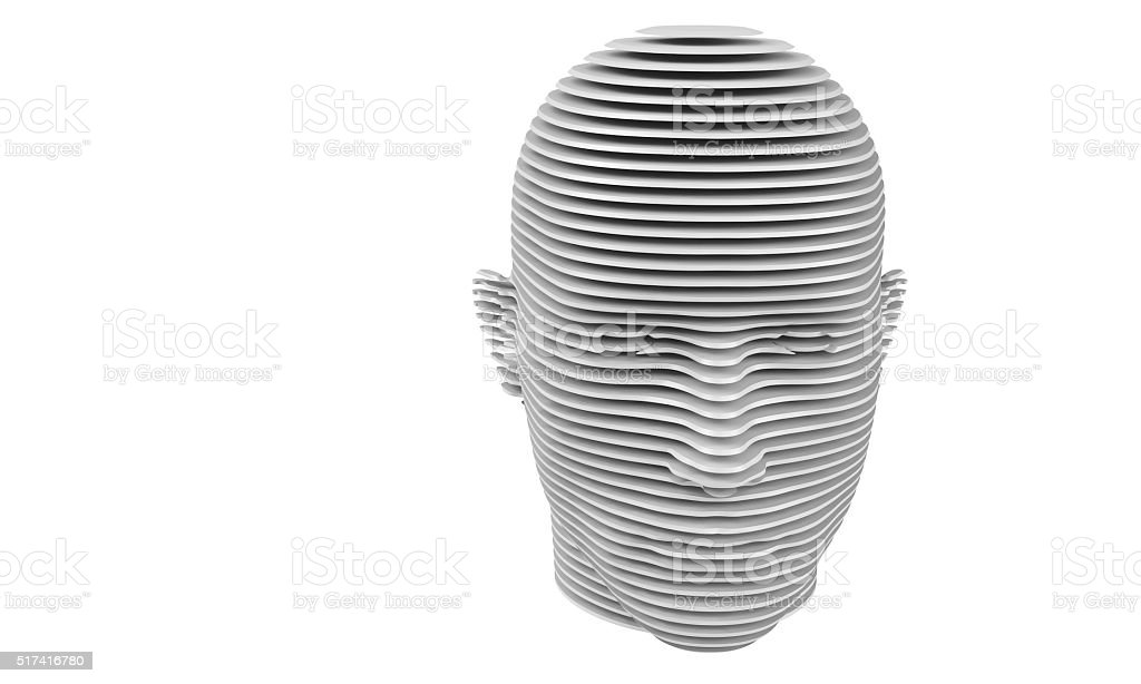 model of cut a humane head isolated on white stock photo