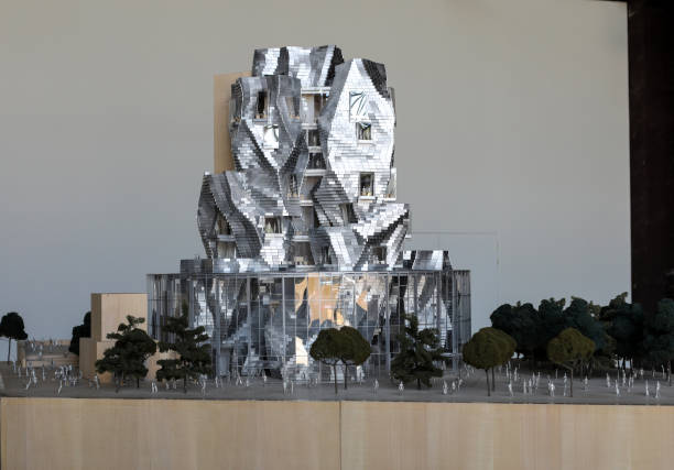 Model of final design of Luma Arles with the Frank Gehry Tower and the Ateliers in Arles. France stock photo