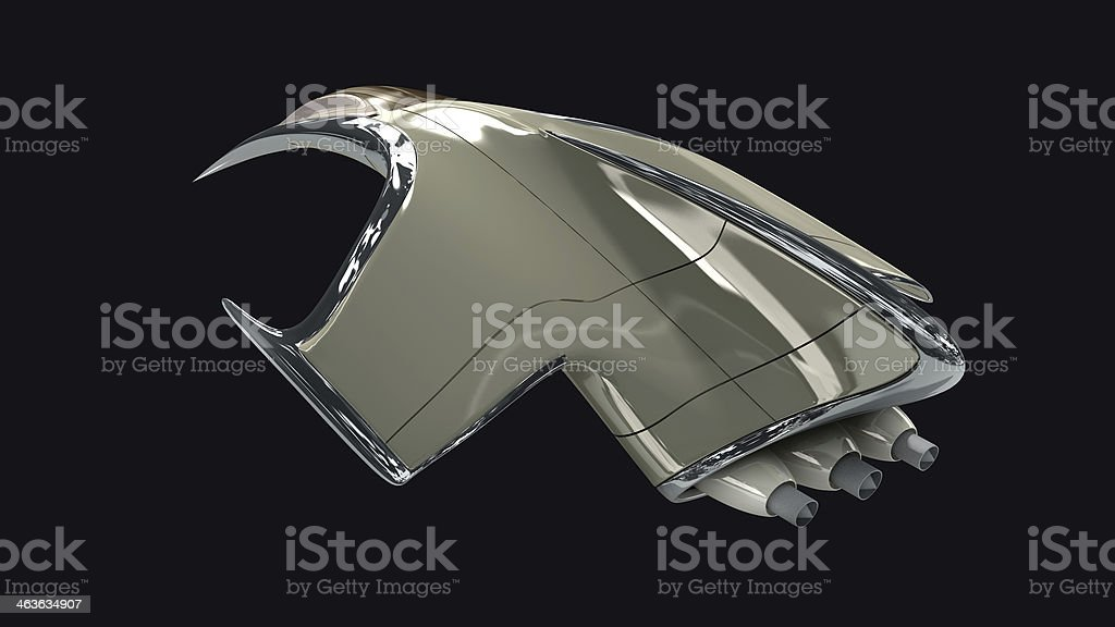 3D model of futuristic military spaceship royalty-free stock photo