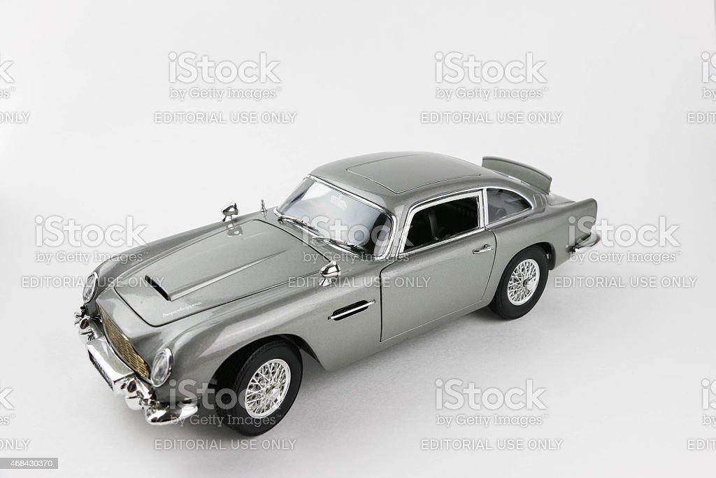 Model of 'Goldfinger' Aston Martin stock photo