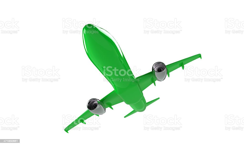 model of green airplane isolated on white royalty-free stock photo