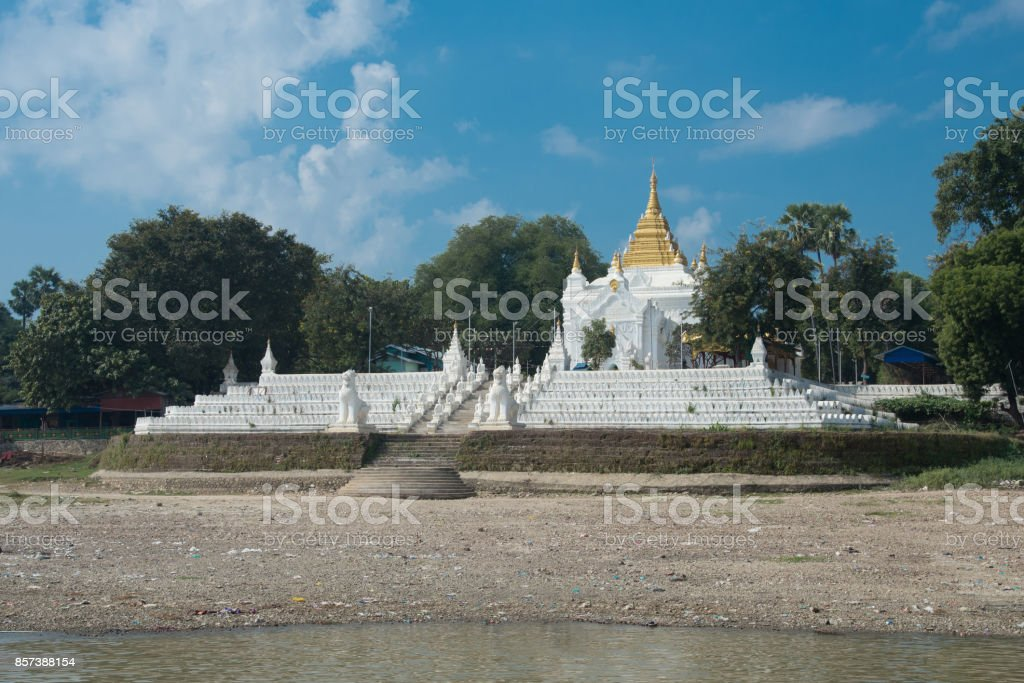 Model of Mingun Pahtodawgyi or mingun pagoda is an incomplete monument stupa in Mingun,mandalay,myanmar stock photo
