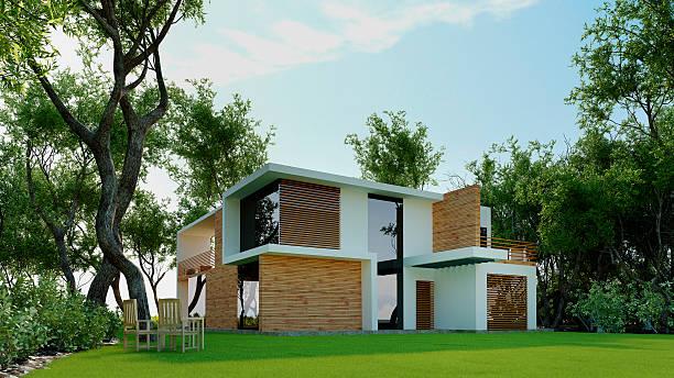 3 d modell der modernen haus im wald. architektur abstrakte. - holzfiguren stock-fotos und bilder