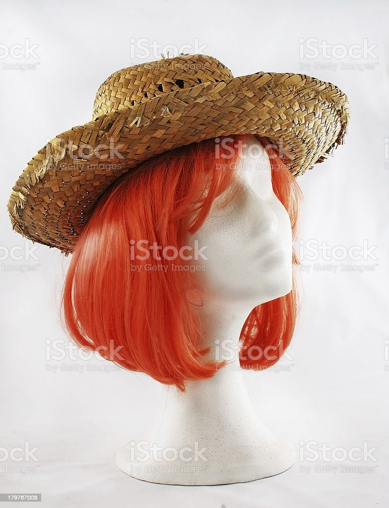 Model of polystyrene pink wig brown hat royalty-free stock photo