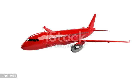 istock model of red airplane isolated on white 179711634