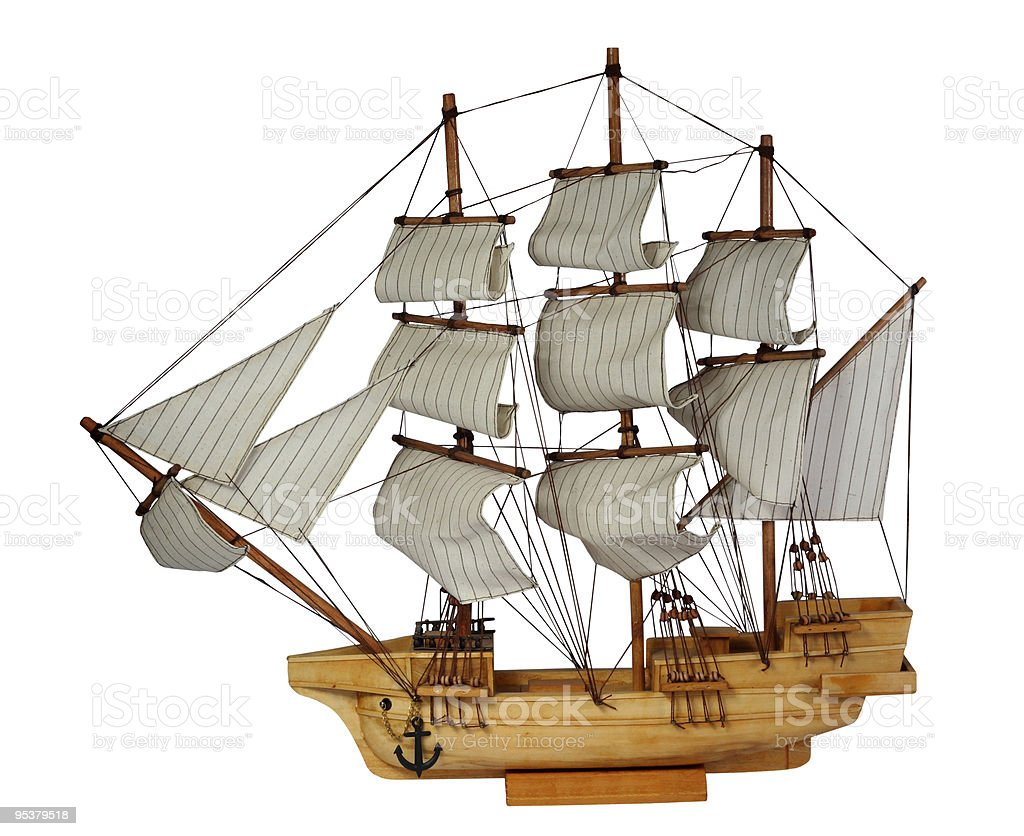 Model of ship with sails stock photo