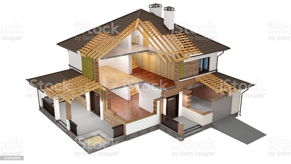 3D Model Of Sliced House Royalty Free Stock Photo