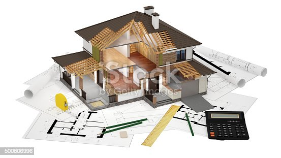 istock 3D model of sliced house 500806996