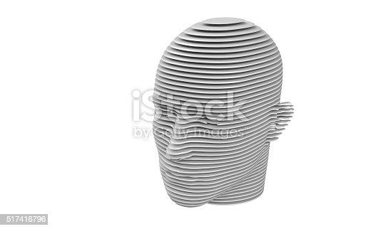 499664303istockphoto model of slit a humane head isolated on white 517416796