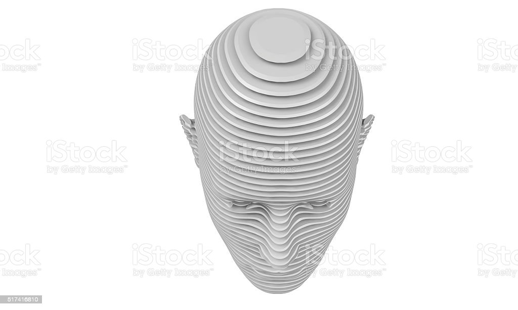 model of slit a humane head isolated on white stock photo