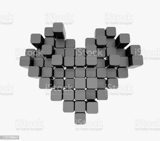 3D model of the black heart, consisting of blocks - cubes isolated on a white background. Pixel, or voxel art.