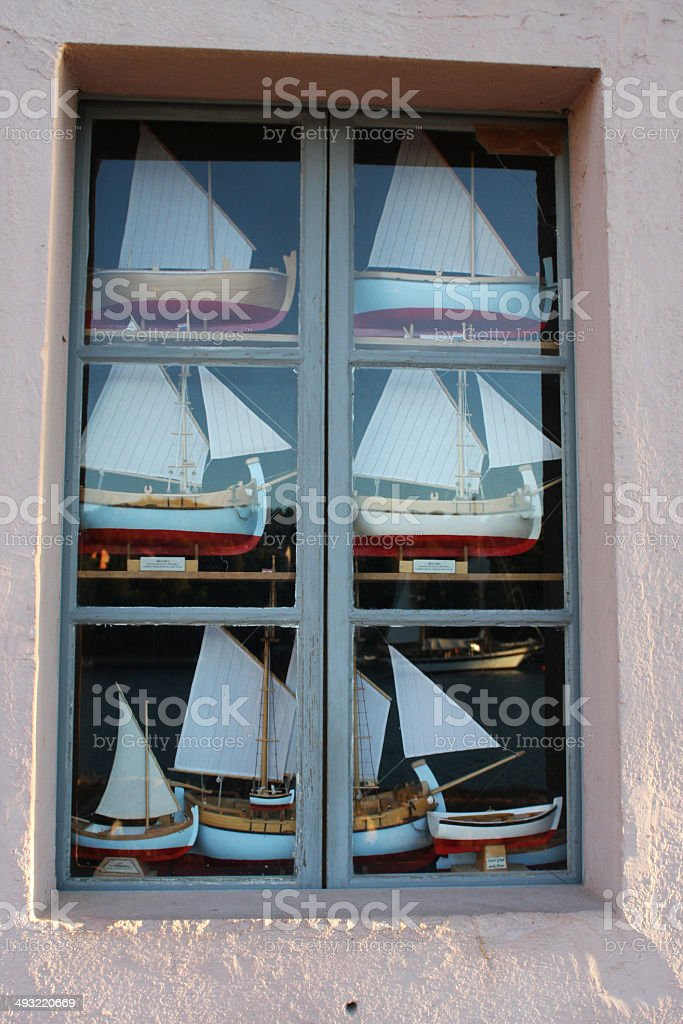 Model of the Bracera sailing ships in window. stock photo
