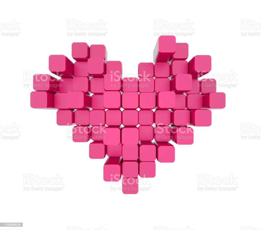 Photo Libre De Droit De Modèle 3d Du Coeur Rose Composé De
