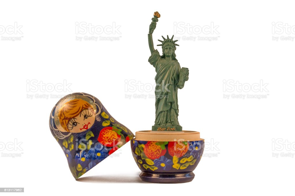 Model of the Statue of Liberty inside a Russian babushka doll stock photo