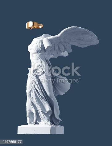 3D Model Of Winged Victory And Golden VR Glasses On Blue Background. Concept Of Art And Virtual Reality. 3D Illustration.