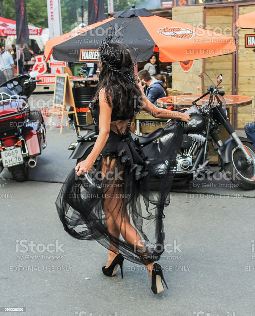 Model on the motorcycle background. royalty-free stock photo
