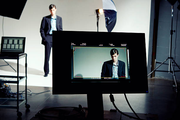 Model on Video Screen stock photo