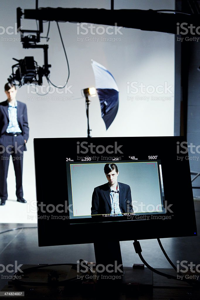 Model on Video Screen stock photo