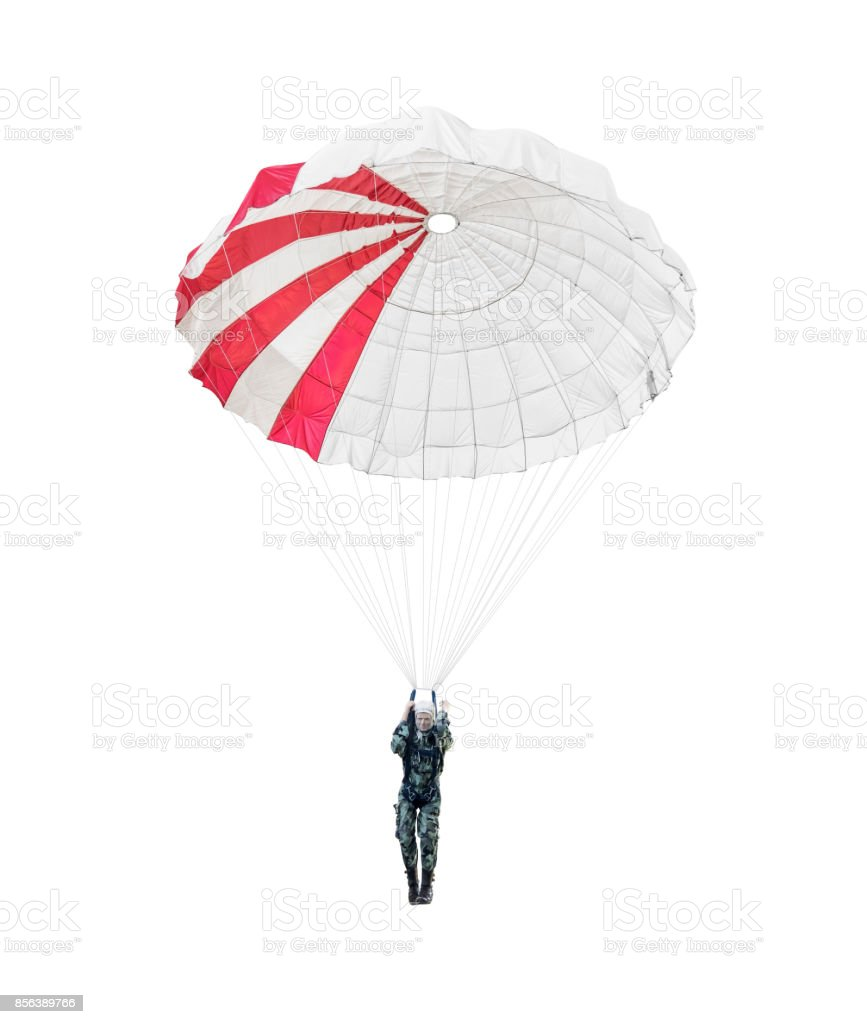 Model paratrooper of a military paratrooper isolated on white stock photo