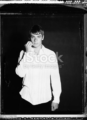 Young male model photographed in the studio