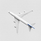 Model plane,airplane in white color mock up.clipping path