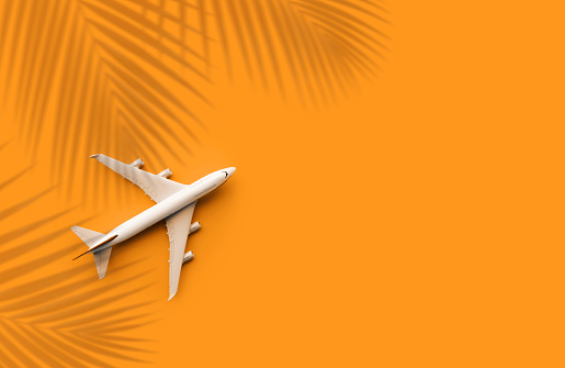 istock Model plane,airplane with coconut leaf on pastel color background.Trip journey and holiday summer concepts 1143262678