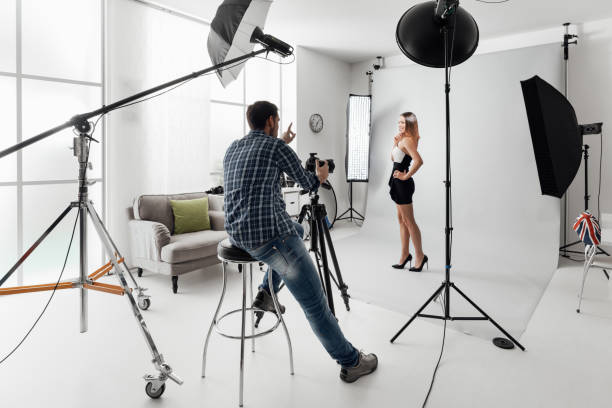 Model posing for a photo shoot stock photo