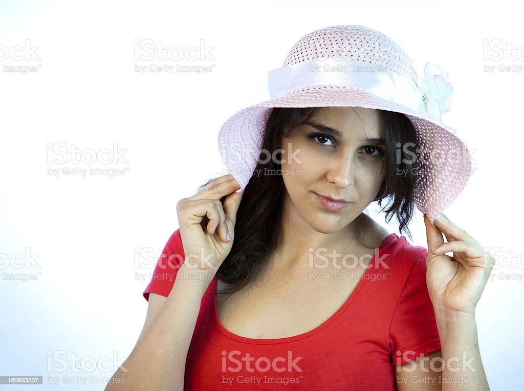 Model Pulling Hat Brim royalty-free stock photo
