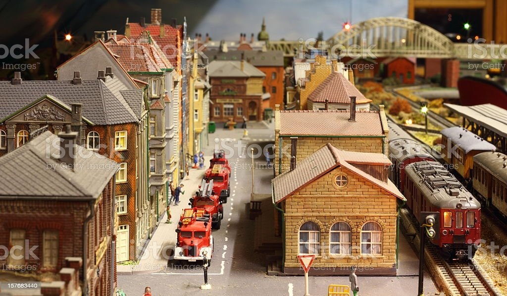 Model railroad layout with fire engines royalty-free stock photo