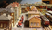 istock Model railroad layout with fire engines 157683440