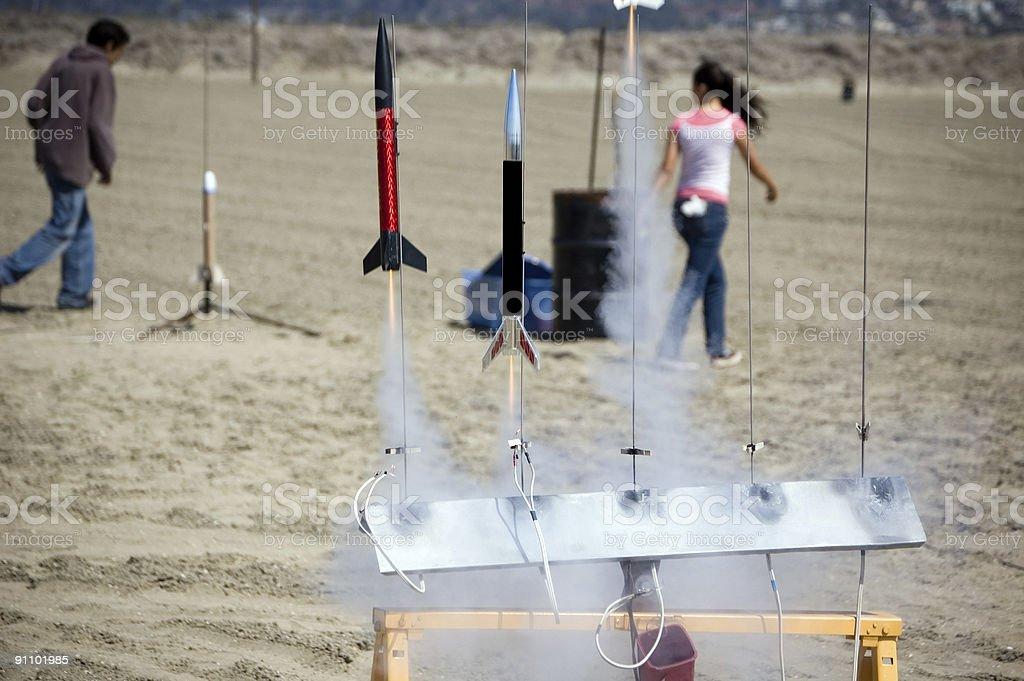 Model Rocket Race stock photo