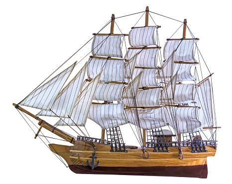 Model sailing ship isolated on white background