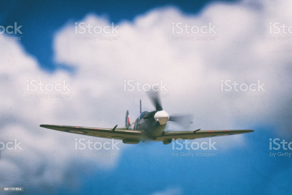 Model Spitfire In Flight stock photo