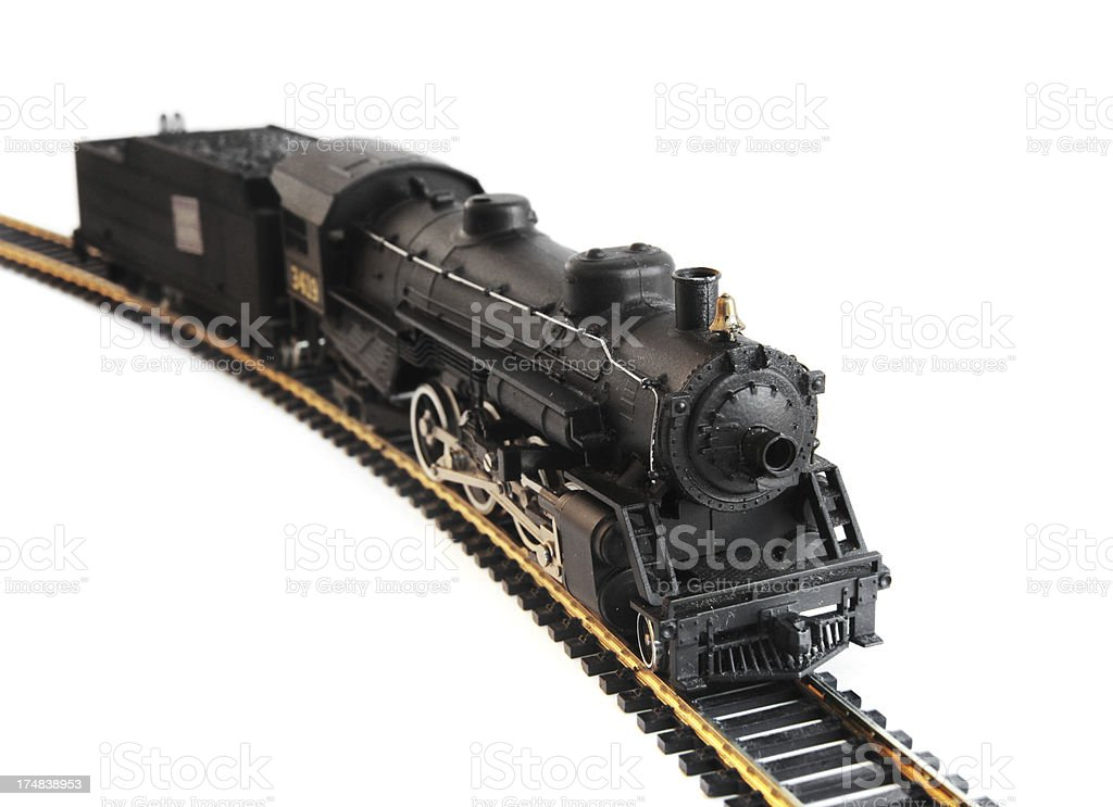Model Steam Train HO Scale on White stock photo
