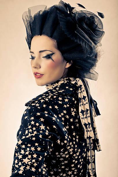 modell ist als geisha - schal mit sternen stock-fotos und bilder