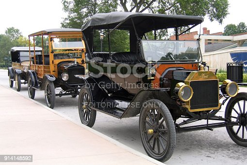 Dearborn, Michigan-February 3, 2018:  3 Model T Ford automobiles lined up on a street.  The cars are in near new condition.