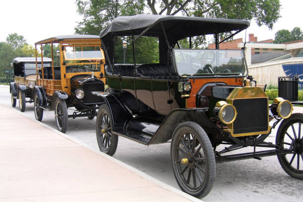 Model T automobiles stock photo
