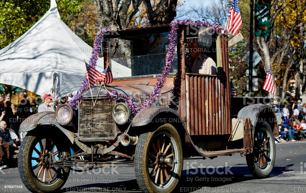 Model T Ford Club in Veterans Day Parade stock photo