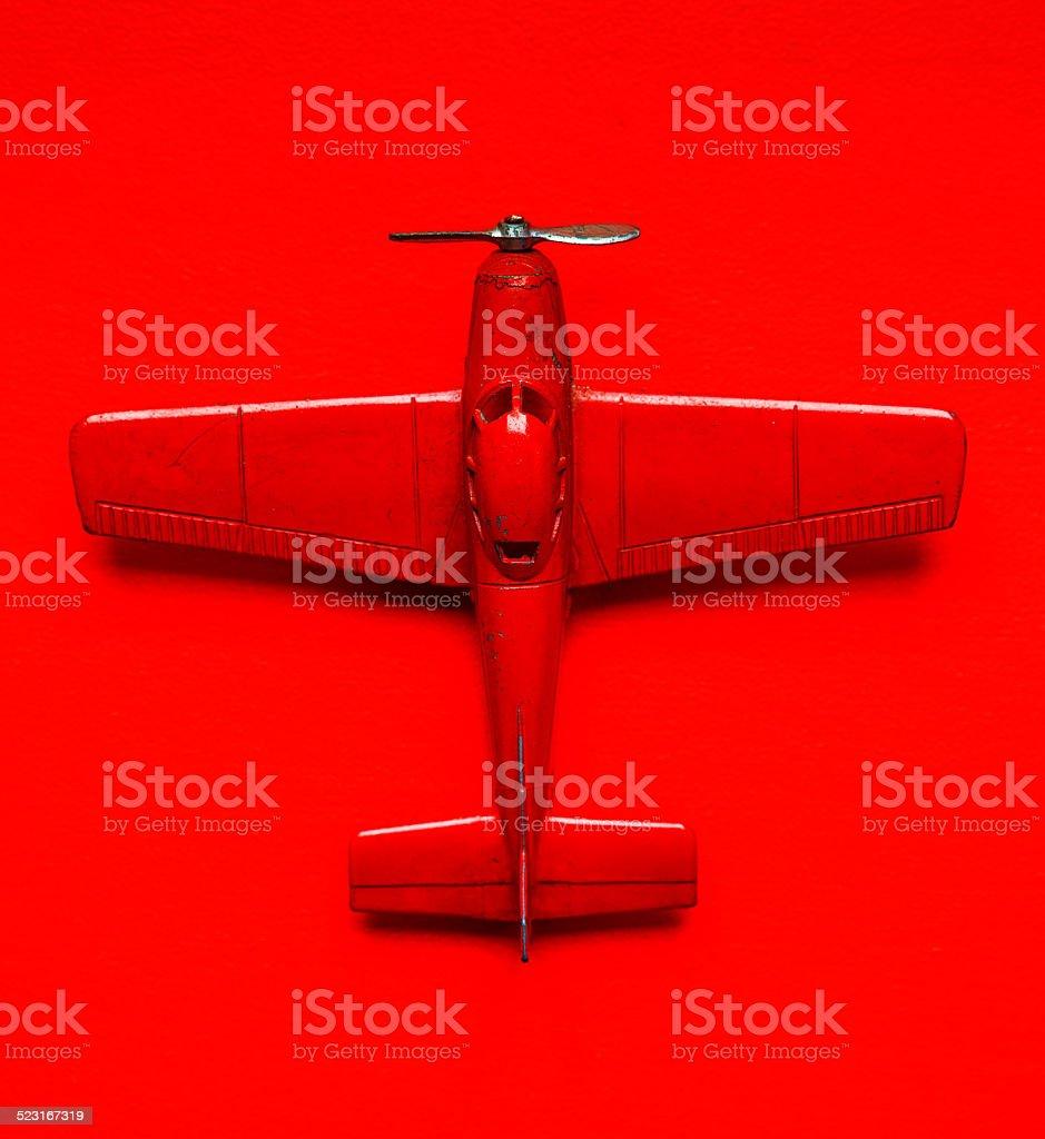 Model toy vintage airplane stock photo