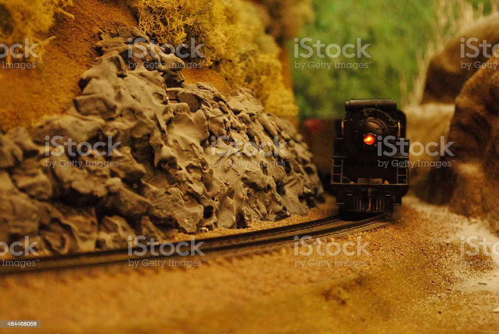 Model Train coming around a Bend stock photo