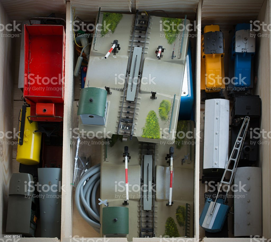 Model Train With Railroad Crossing In Old Wooden Box Stock